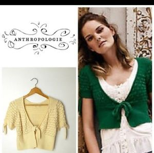 Anthropologie Moth Stitchy Cropped Cardigan XS